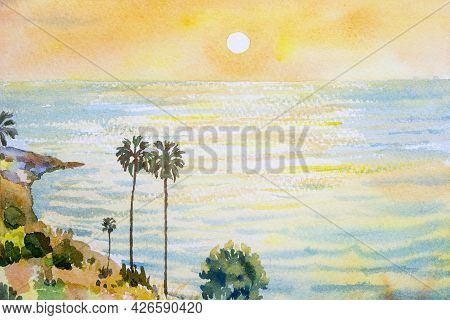 Colorful Watercolor Painting On Paper Texture. Impressionism Image Of Seascape Paintings Of Phuket,