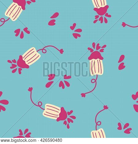 Seamless Pattern Cute Menstruation Period Object. Background With Women's Sanitary Tampons. Women's