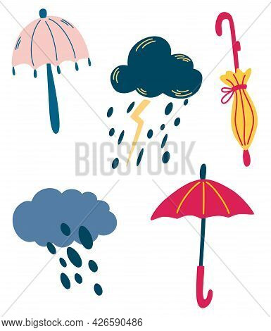 Set Of Clouds And Umbrellas. Rainy Weather. Thunderstorm, Rain, Clouds. Cute Abstract Umbrellas. Wea