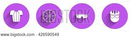 Set Cycling T-shirt, Bicycle Wheel, Sport Cycling Sunglasses And Helmet Icon With Long Shadow. Vecto