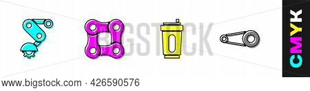 Set Derailleur Bicycle Rear, Bicycle Chain, Sport Bottle With Water And Gear Icon. Vector