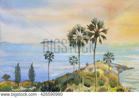 Colorful Sea Summer Watercolor Painting On Paper Of Seascape Paintings Of Laem Phromthep Phuket Famo