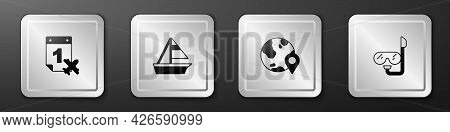 Set Calendar And Airplane, Yacht Sailboat, Location On The Globe And Diving Mask Snorkel Icon. Silve