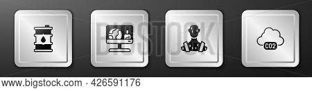 Set Barrel Oil, Weather Forecast, High Human Body Temperature And Co2 Emissions In Cloud Icon. Silve