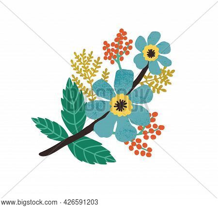 Blooming Wild Flowers, Leaves And Red Berries. Modern Botanical Floral Composition Of Blossomed Mead