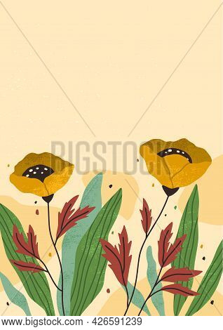 Card With Blossomed Flowers, Plants, Leaves And Place For Text. Vertical Floral Background. Flyer Wi