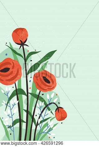 Vertical Card With Blossomed Flowers And Leaves. Floral Background With Gentle Spring Bouquet. Roman