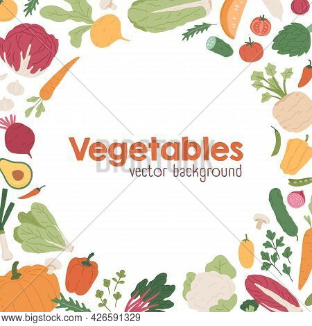 Organic Vegetables Background With Circle Border Of Fresh Farm Veggies. Square-shaped Card Design Wi