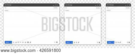 Email Interface Set. Mail Mockup Window For Feedback Form. Template Of Browser Window For Contact Fo