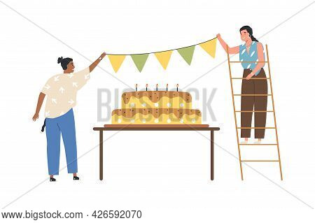 Happy People Preparing For Birthday Party Celebration With Big Cake. Cheerful Women Decorating, Hang