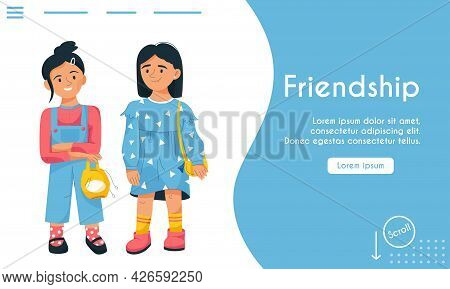 Vector Landing Page Of Friendship Concept. Friends Or Sisters