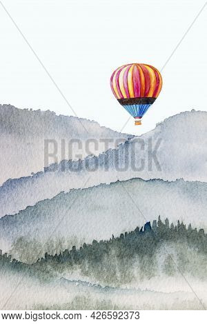 Watercolor Mountain Background Drawn By Brush. Colorful Paints Hot Air Balloon On Paper Texture Wall