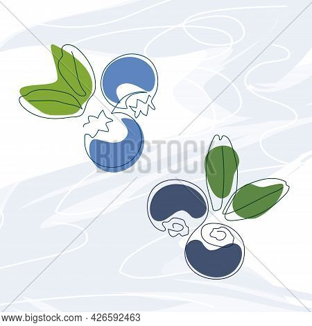 Hand-drawn Blueberries And Blueberries With Leaves Drawn In One Solid Line On A Background Of Abstra