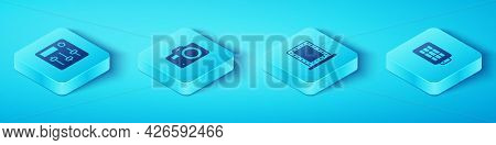 Set Isometric Sound Mixer Controller, Photo Camera, Softbox Light And Makeup Mirror With Lights Icon