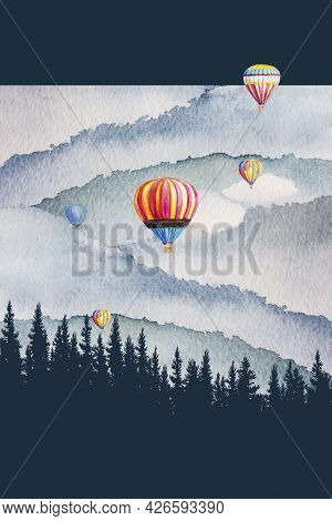 Watercolor Painting Landscape Colorful Of Hot Air Balloon, Pine Mountain Forest, Background Blue, Wi