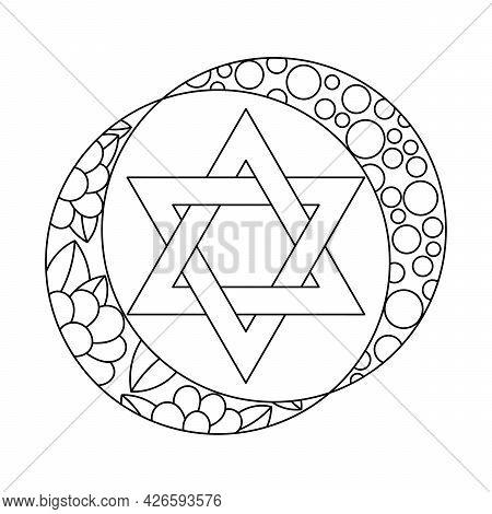 Coloring Book Jewish Star Of David. Six Pointed Star. Hand Drawn Vector Illustration