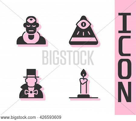 Set Burning Candle In Candlestick, Wizard Warlock, Magician And Masons Icon. Vector