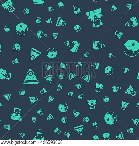 Set Bottle With Potion, Vampire, Masons And Moon And Stars On Seamless Pattern. Vector