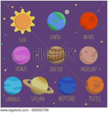 Hand Drawn Vector With Sun, Earth, Solar System, Planets, Moon, Mars And Venus. Cosmic Ornament On T
