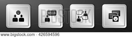 Set Complicated Relationship, Acquaintance, Two Sitting Men Talking And Chat Messages Laptop Icon. S
