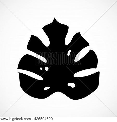 Monstera Palm Leaf. Tropical Plant Part Black Silhouette Isolated On White Background. Simple Botani