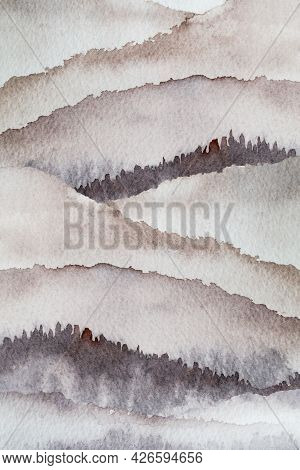 Watercolor Mountain Background Drawn By Brush Paint Nature On Paper Texture, Pastels Vintage Wallpap