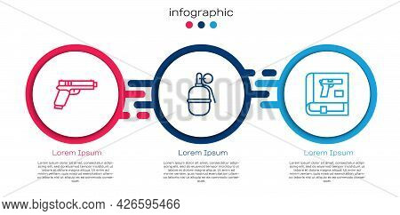 Set Line Pistol Or Gun, Hand Grenade And Book With Pistol. Business Infographic Template. Vector