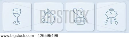 Set Line Wine Glass, Homemade Pie, Cow Head And Barbecue Grill. White Square Button. Vector