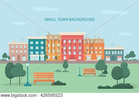 Urban Park, City Downtown With Sky View. Small Street With Houses, Shops, Offices. Background For An