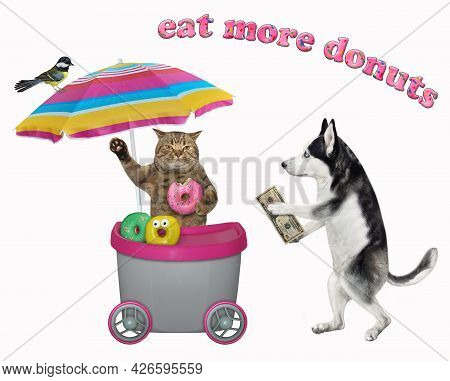 A Dog Husky Buys A Doughnut In A Grey Movable Kiosk. White Background. Isolated.