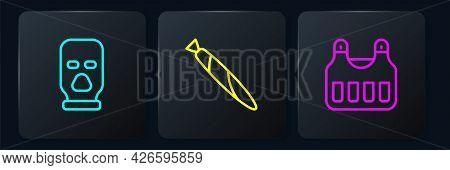 Set Line Balaclava, Bulletproof Vest And Marijuana Joint. Black Square Button. Vector