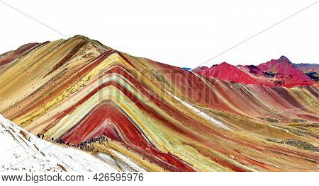 Rainbow Mountain Or Vinicunca Montana De Siete Colores Isolated On White Sky Background, Cuzco Or Cu