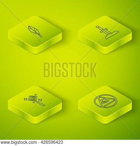 Set Isometric Line Sword In The Stone, Magic Staff, Masons And Feather Icon. Vector