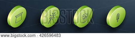 Set Isometric Line Magic Hat, Wand, And Sword In Fire Icon. Vector