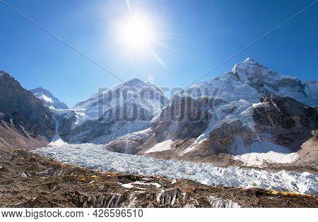 Morning Sun Above Mount Everest Base Camp And  Khumbu Glacier,  Nepal Himalayas Mountains