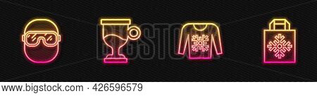 Set Line Christmas Sweater, Ski Goggles, Mulled Wine And Shopping Bag. Glowing Neon Icon. Vector