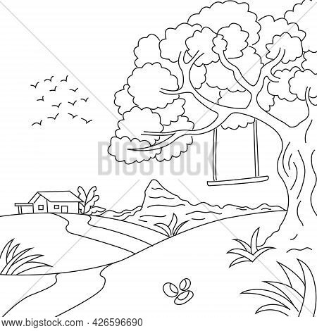 Cradle Hanging On A Tree Vector Illustration In Cute Line Style Coloring Page Suitable For Adults An