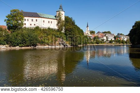 Zirovnice Renaissance And Baroque Castle Standing Above The Water Surface. Bohemian And Moravian Hig