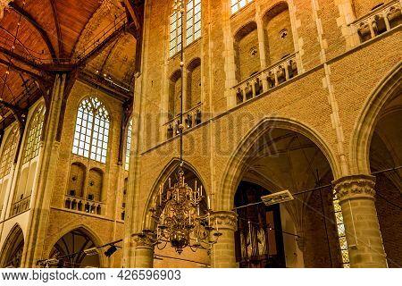 Alkmaar, The Netherlands. June 2021. The Interior Of St. Laurentius Church In Alkmaar, The Netherlan