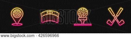 Set Line Golf Ball On Tee, Location Golf Sport Club, Sun Visor Cap And Crossed. Glowing Neon Icon. V