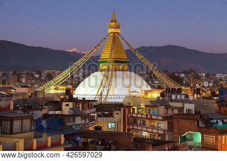 Evening Or Night View Of Boudha Or Bodhnath Or Boudhanath Stupa In Kathmandu,  Nepal, Bodhnath Stupa