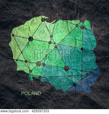 Map Of Poland. Concept Of Travel And Geography.
