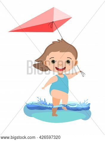 Girl Is Having Fun. Waves Of Water In River, Sea Or Ocean. Kite. Swimming, Diving And Water Sports.