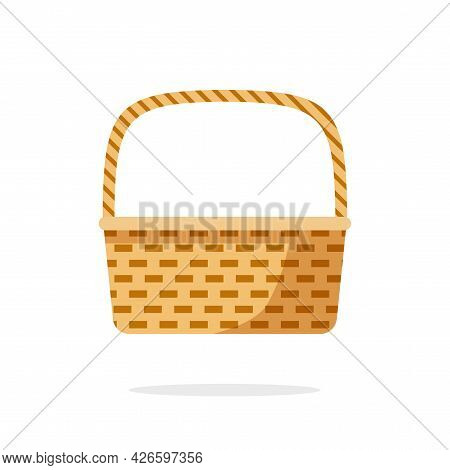 Wicker Picnic Weave Basket Or Rustic Bag Vector Flat Cartoon Icon Isolated Clipart