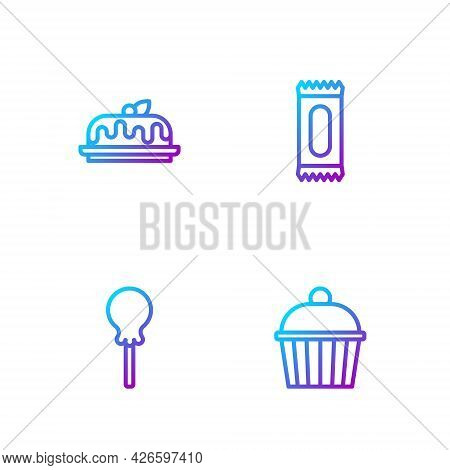 Set Line Cake, Lollipop, And Candy. Gradient Color Icons. Vector