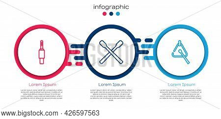 Set Line Audio Jack, Drum Sticks And Triangle. Business Infographic Template. Vector