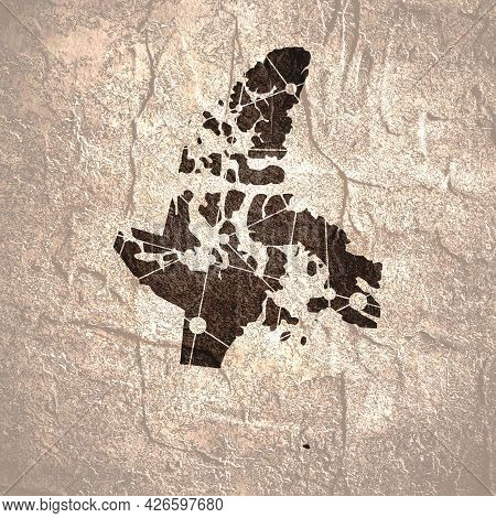 Map Of Nunavut. Concept Of Travel And Geography Of Canada.