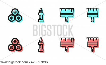 Set Line Paint Brush, Spray Can, Marker Pen And Icon. Vector