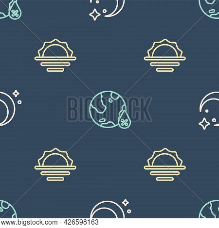 Set Line Moon And Stars, Sunrise And Water Drop Percentage On Seamless Pattern. Vector