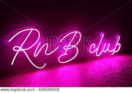 Pink Neon Sign Rnb Club. Trendy Style. Neon Sign. Custom Neon. Club Decor.